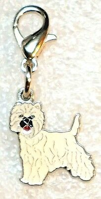 Tiny West Highland Terrier Dog Pup Bag Purse Charm Dangle Zipper Pull Jewelry