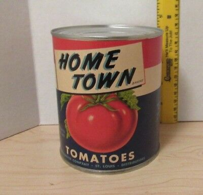 Vintage HOME TOWN TOMATOES Advertising Can Rethmeyer Company St. Louis, MO