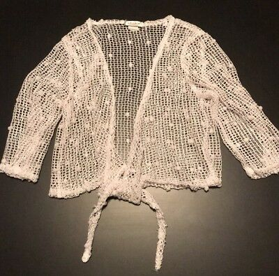 White Netted Front Tie Coverup with Sequins & Poms, Size Medium