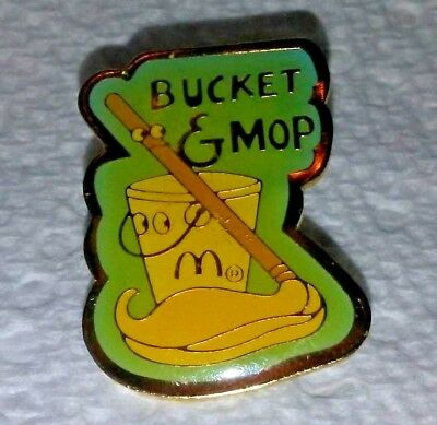 Vintage McDonald's Bucket and Mop Crew Employee lapel hat Pin rare