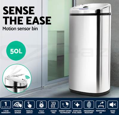 50L Automatic large Motion Sensor-operated Stainless Steel Bin Noise-free Silver