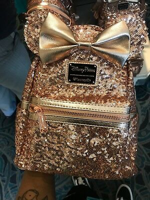 Disney Parks Disneyland Minnie Mouse Rose Gold Loungefly Backpack - New!