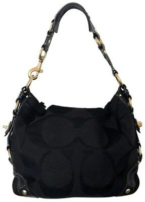 52752d09de22 COACH BLACK SHOULDER Bag Purse Handbag Monogram Signature Satin Sateen Carly  -  23.00