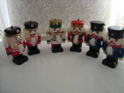 """Lot of 6 Vintage Wooden Christmas Nutcrackers Soldiers 6"""" Holiday Decor Favors"""