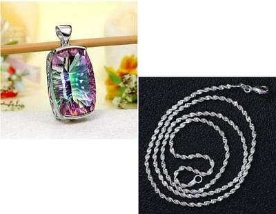 Jewelry 925 Silver plated Crystal Pearl Pendant Necklace 24'' Chain Women Gift