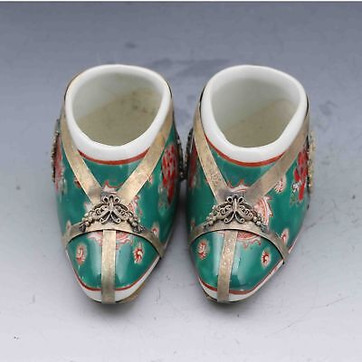 Chinese Color Porcelain Handwork Carved Shoes Inlaid Brass Statues