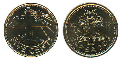 Barbados 5 Cents, 3.75 g Brass Plated Steel Coin, 2012, KM # 11a,Mint,Lighthouse