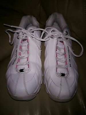 782b3a7342c0 K-SWISS WHITE WITH PINK LEATHER SHOCK SPRING WALKING SHOES Womens Size 10