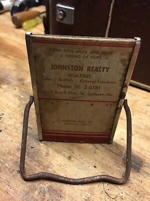 Vintage  Advertising Mirror W/STAND , miniature Johnston Realty, Gulfport  FL.