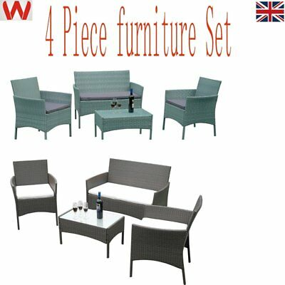 4 Piece Rattan garden Furniture Set Conservatory Outdoor Table Chairs Sofa