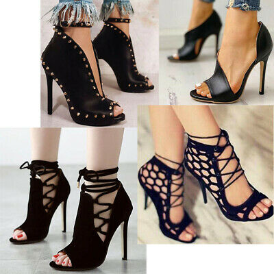 Women Summer Lace Up Sandals Bandage Stiletto Open Toe High Heels Party Shoes#CA