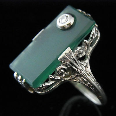 Antique Diamond Chrysoprase Ring Art Deco 14k White Gold Vintage Estate Filigree