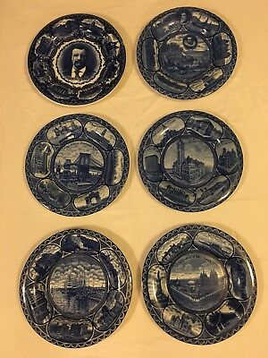 Lot of Six Vintage Rowland & Marsellus Staffordshire Collector Plates