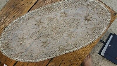 Beaded Rose Gold  Oval Table Feature Runner w Applique on Organza Hand stitched