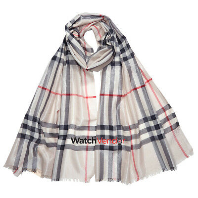 Burberry Metallic Check Silk and Wool Scarf- Stone/Silver
