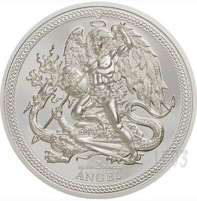 2017 2 Oz PROOF Silver ISLE OF MAN 1 ANGEL PIEDFORT Coin..