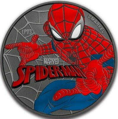 2017 1 Oz Silver $1 SPIDERMAN Coin WITH 24K BLACK RUTHEN