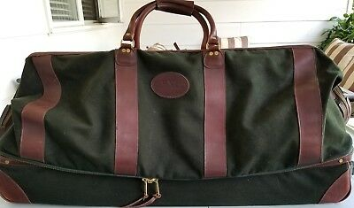 Vintage Orvis Rolling Luggage Bag Canvas Leather