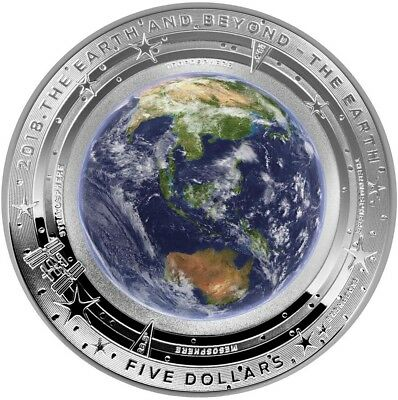 2018 1 Oz PROOF Silver $5 THE EARTH - DOMED EARTH AND BEYOND Coin.