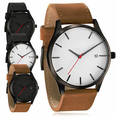 Luxury Men's Quartz Wrist Watches Leather Watch Strap Analog Slim Date Casual
