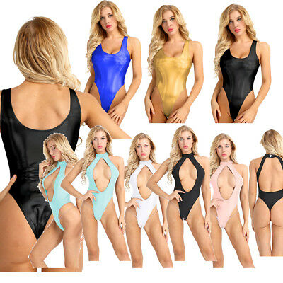 Sexy Women's PVC Leather Bodysuit Sleeveless Jumpsuit Catsuit One-piece Clubwear