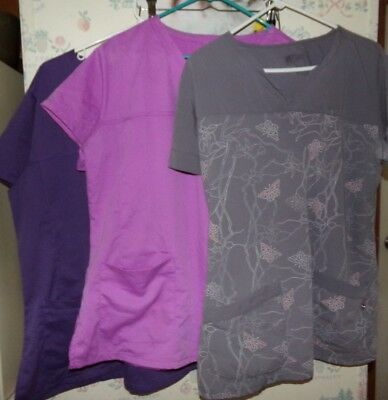 Lot Of 3 Grey's Anatomy Womens Sz Xl Scrubs Scrub Tops Shirts Gray's