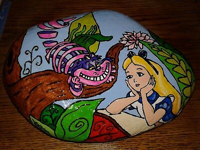 Huge Alice Cheshire Cat Original Hand Painted Rock Stone Art By Suzanne Foster