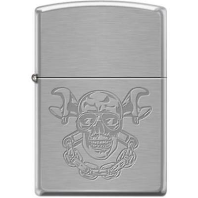 Zippo Lighter - Skull With Wrenches Brushed Chrome - 853942