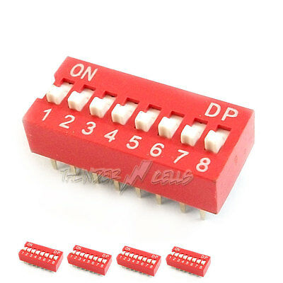 5 x 8 Position Way Slide Style DIP Switch 2.54mm Pitch Gold Tone 16 Pin PCB Code