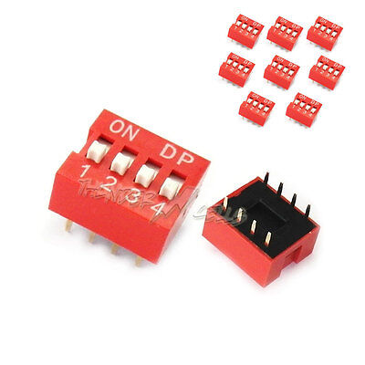 10 x 4 Position Way Slide Style DIP Switch 2.54mm Pitch Gold Tone 8 Pin PCB Code