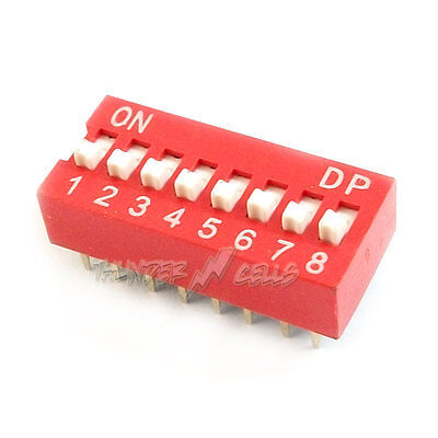 1 x 8 Position Way Slide Style DIP Switch 2.54mm Pitch Gold Tone 16 Pin PCB Code