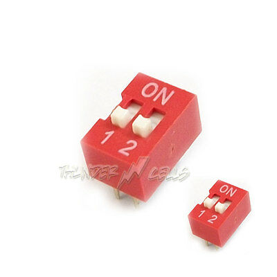 2 x 2 Position Ways Slide Style DIP Switch 2.54mm Pitch Gold Tone 4 Pin PCB Code