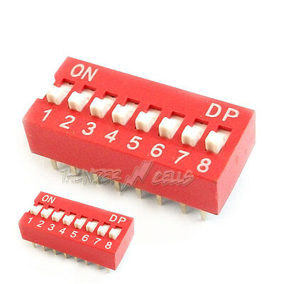 2 x 8 Position Way Slide Style DIP Switch 2.54mm Pitch Gold Tone 16 Pin PCB Code
