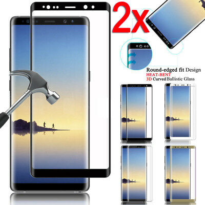 2X Genuine 3D Temper Glass Full Cover Screen Protector For Samsung Galaxy Note 8