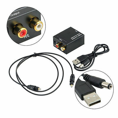 Digital Optical Coaxial For Toslink SPDIF to Analog RCA L/R Audio Converter HDTV