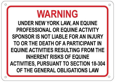 New York Equine Activity Sign - liability warning statute horse farm barn stable