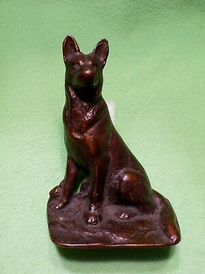 """Vintage copper covered cast iron GERMAN SHEPHERD figurine bookend. 4 5/8 """" H"""