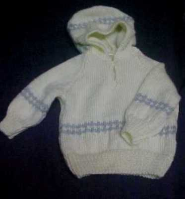 Hand Knitted Hooded Jumper - Suit Birth To Three Months
