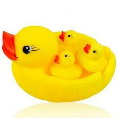4pcs Baby Bathing Floating Rubber Squeaky Ducks Play Water Bathing Pool Tub Toy
