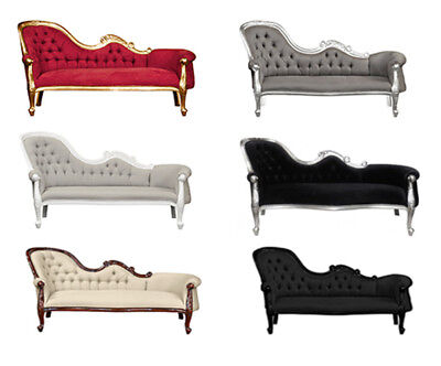 Chaise Longue   French Louis Style Lounge - White  Gold  Black  Mahogany  Silver