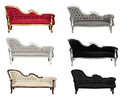Chaise Longue   French Louis XV Lounge - White  Gold  Black  Mahogany  Silver
