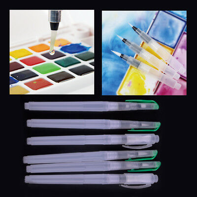 6pcs Different Size Ink Pen Water Brush Watercolor Calligraphy Drawing Painting