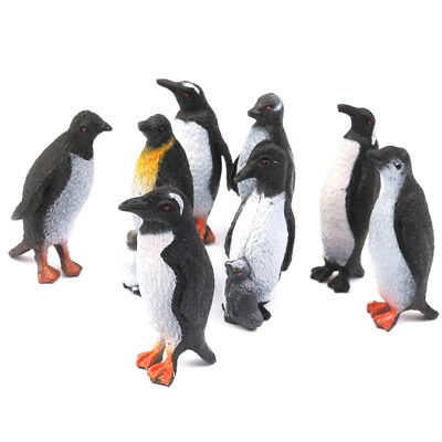 Plastic Penguin Ocean Animal Toy Model Gift 8pcs Black + White H6J7