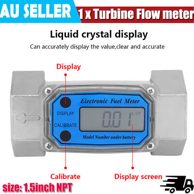 Turbine Digital Diesel Water Fuel Flow Meter Oval Gear Flow Gauge BSPT/NPT AU