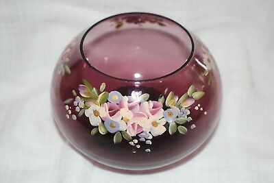 retro art glass bowl vase hand painted flowers hand crafted 8cm