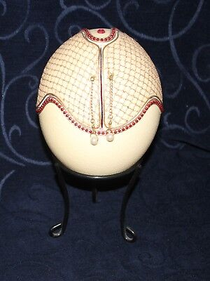 vintage ostrich egg jewellery box doll bed Faberge egg ish hinged red satin vgc