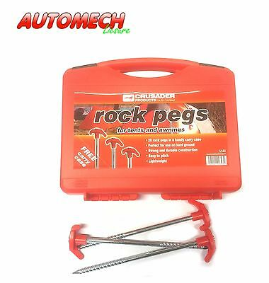 Crusader H/D Rock Pegs Tent/Awning Pegs,Red Tops,Box of 20 Free Carry Case (143