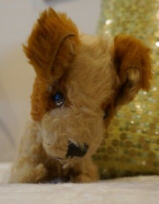 Vintage. Mohair Puppy Waif . Green Glass Eyes