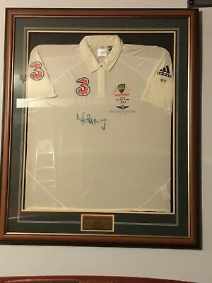 Mike Hussey Frame Signed Shirt cricket Australian