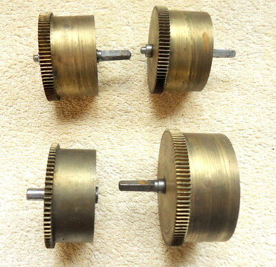 "4 -  Antique Brass Clock Parts. ""DRIVE COGS"". for Restoration or Spares"